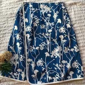 Kate Spade Blue and White Floral Mock Wrap skirt